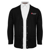 Black V Neck Cardigan w/Pockets-University Mark Stacked