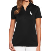 Ladies Callaway Tulip Sleeve Black Zip Polo-Interlocking SB