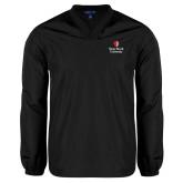 V Neck Black Raglan Windshirt-University Mark Vertical
