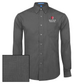 Mens Dark Charcoal Crosshatch Poplin Long Sleeve Shirt-University Mark Vertical
