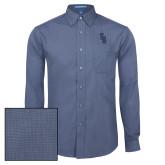Mens Deep Blue Crosshatch Poplin Long Sleeve Shirt-Interlocking SB