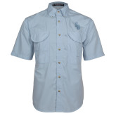 Light Blue Short Sleeve Performance Fishing Shirt-Interlocking SB