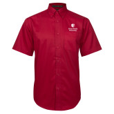 Red Twill Button Down Short Sleeve-University Mark Vertical