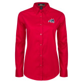 Ladies Red Twill Button Down Long Sleeve-Wolfie Head
