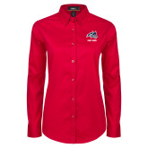 Ladies Red Twill Button Down Long Sleeve-Wolfie Head and Stony Brook