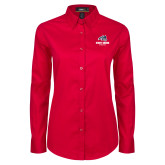 Ladies Red Twill Button Down Long Sleeve-Wolfie Head and Stony Brook Athletics