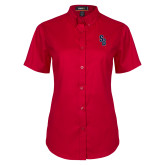 Ladies Red Twill Button Up Short Sleeve-Interlocking SB