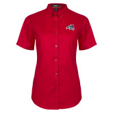 Ladies Red Twill Button Up Short Sleeve-Wolfie Head