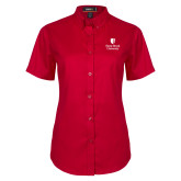 Ladies Red Twill Button Up Short Sleeve-University Mark Vertical
