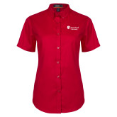Ladies Red Twill Button Up Short Sleeve-University Mark Stacked