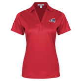 Ladies Red Performance Fine Jacquard Polo-Wolfie Head
