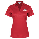 Ladies Red Performance Fine Jacquard Polo-Wolfie Head and Stony Brook Athletics