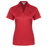 Ladies Red Performance Fine Jacquard Polo-Interlocking SB