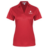 Ladies Red Performance Fine Jacquard Polo-University Mark Vertical