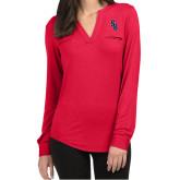 Ladies Lux Red Split Neck Blouse-Interlocking SB