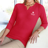 Ladies V Notch Red 3/4 Sleeve Shirt-University Mark Vertical
