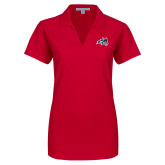 Ladies Red Dry Zone Grid Polo-Wolfie Head