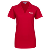 Ladies Red Dry Zone Grid Polo-University Mark Stacked