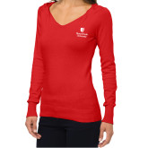 Ladies Fuse Red V Neck Sweater-University Mark Vertical