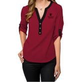 Ladies Posh Scarlet 3/4 Sleeve Blouse-University Mark Vertical