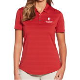 Ladies Callaway Horizontal Textured Deep Red Polo-University Mark Vertical
