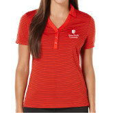 Ladies Callaway Core Stripe Red/Black Polo-University Mark Vertical