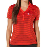 Ladies Callaway Core Stripe Red/Black Polo-University Mark Stacked
