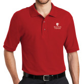 Red Easycare Pique Polo-University Mark Vertical