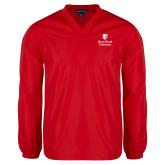 V Neck Red Raglan Windshirt-University Mark Vertical