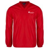 V Neck Red Raglan Windshirt-University Mark Stacked