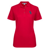 Ladies Easycare Red Pique Polo-Interlocking SB