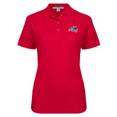 Ladies Easycare Red Pique Polo-Wolfie Head