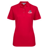 Ladies Easycare Red Pique Polo-Wolfie Head and Stony Brook Seawolves