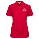 Ladies Easycare Red Pique Polo-Wolfie Head and Stony Brook Athletics