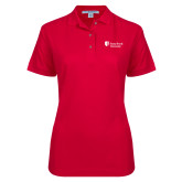 Ladies Easycare Red Pique Polo-University Mark Stacked