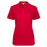 Ladies Easycare Red Pique Polo-University Mark Vertical