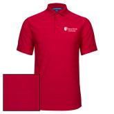 Red Horizontal Textured Polo-University Mark Stacked