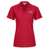 Ladies Red Horizontal Textured Polo-Wolfie Head