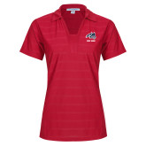 Ladies Red Horizontal Textured Polo-Wolfie Head and Stony Brook