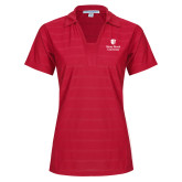 Ladies Red Horizontal Textured Polo-University Mark Vertical