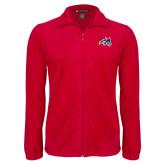 Fleece Full Zip Red Jacket-Wolfie Head