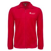 Fleece Full Zip Red Jacket-University Mark Stacked