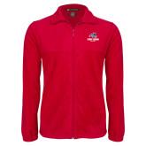 Fleece Full Zip Red Jacket-Wolfie Head Stony Book Softball