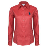 Ladies Red House Red Long Sleeve Shirt-Interlocking SB