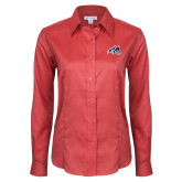Ladies Red House Red Long Sleeve Shirt-Wolfie Head