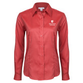 Ladies Red House Red Long Sleeve Shirt-University Mark Vertical