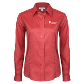 Ladies Red House Red Long Sleeve Shirt-University Mark Stacked