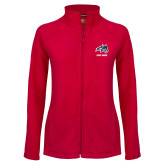 Ladies Fleece Full Zip Red Jacket-Wolfie Head and Stony Brook