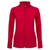 Ladies Fleece Full Zip Red Jacket-University Mark Vertical