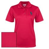 Ladies Red Dry Mesh Polo-Interlocking SB
